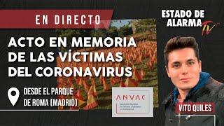 Homenaje con banderas de España a los damnificados por el COVID19 desde la  M-30 de Madrid